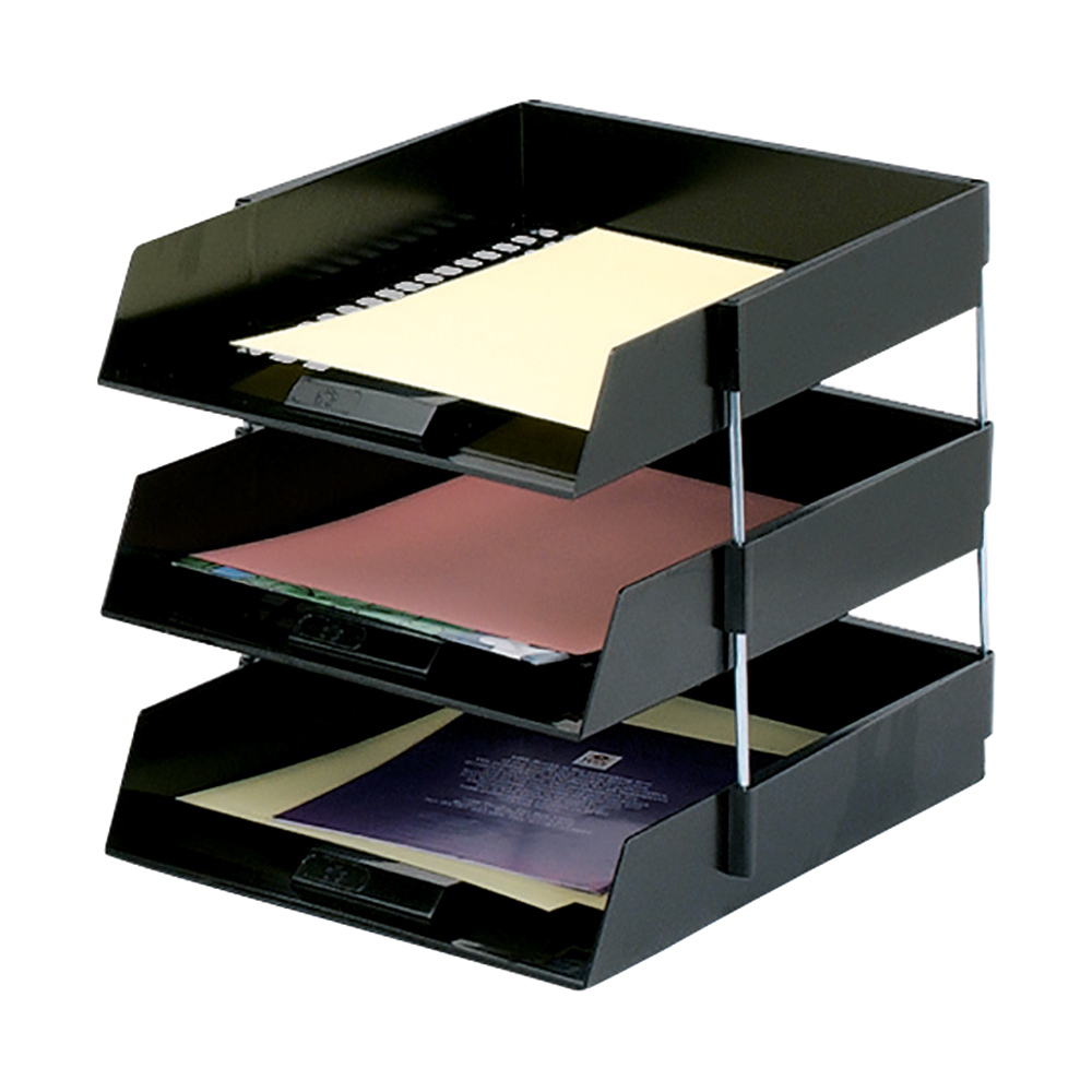 Business Office Letter Tray High-impact Polystyrene Foolscap Black