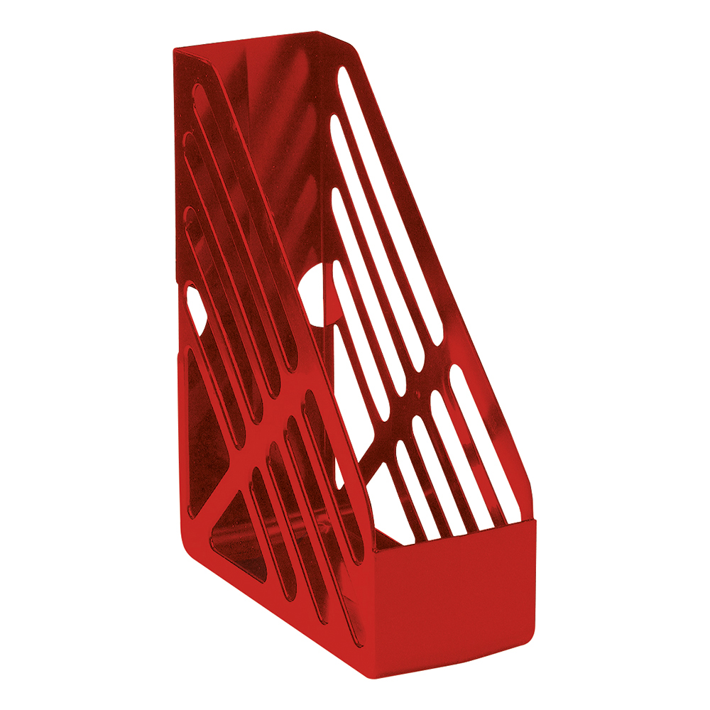 Business Magazine Rack File High-impact Polystyrene Foolscap Red (Pack of 1)