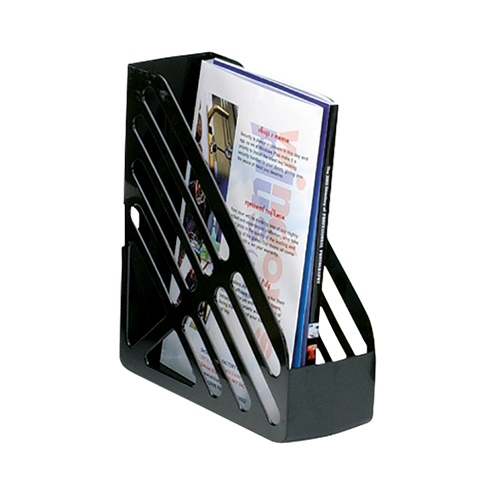 Business Magazine Rack File High-impact Polystyrene Foolscap Black (Pack of 1)
