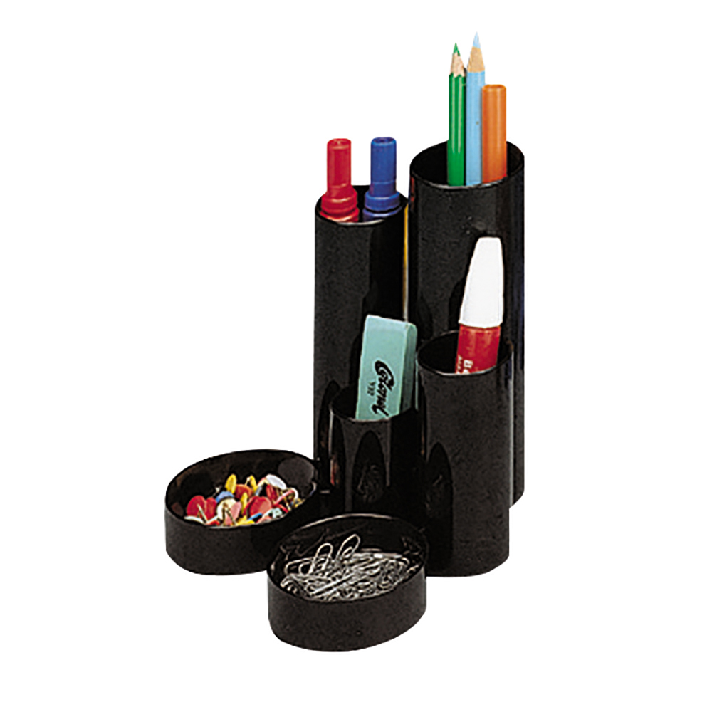 Business Desk Tidy with 6 Compartment Tubes Black (Pack of 1)