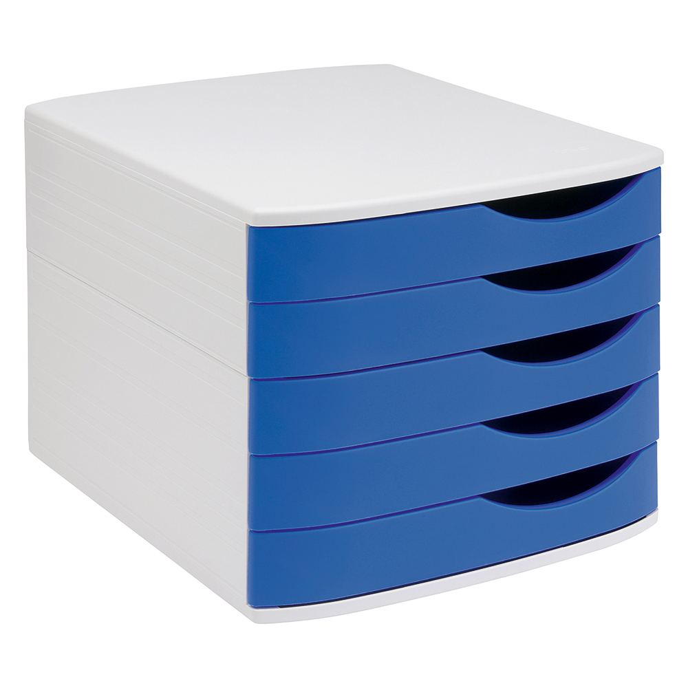 Business Premium Desktop Drawer Set of 5 Drawers A4/Foolscap Grey/Blue (Pack of 1)