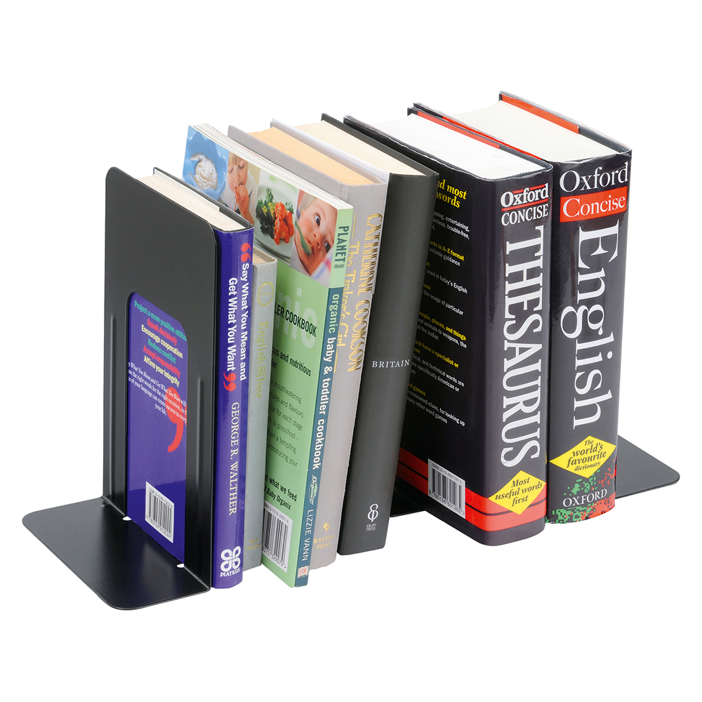 Business Metal Bookends Heavy Duty 224mm Black (Pack of 2)