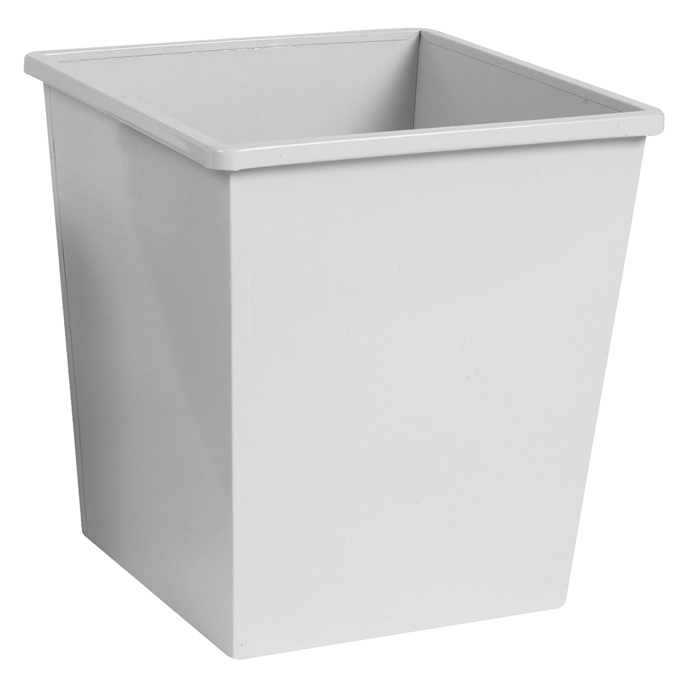 Business Waste Bin Square Metal 27 Litres Grey (Pack of 1)