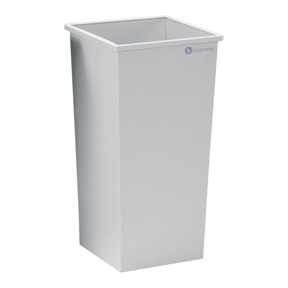 Business Waste Bin Square Metal 48 Litres Grey (Pack of 1)