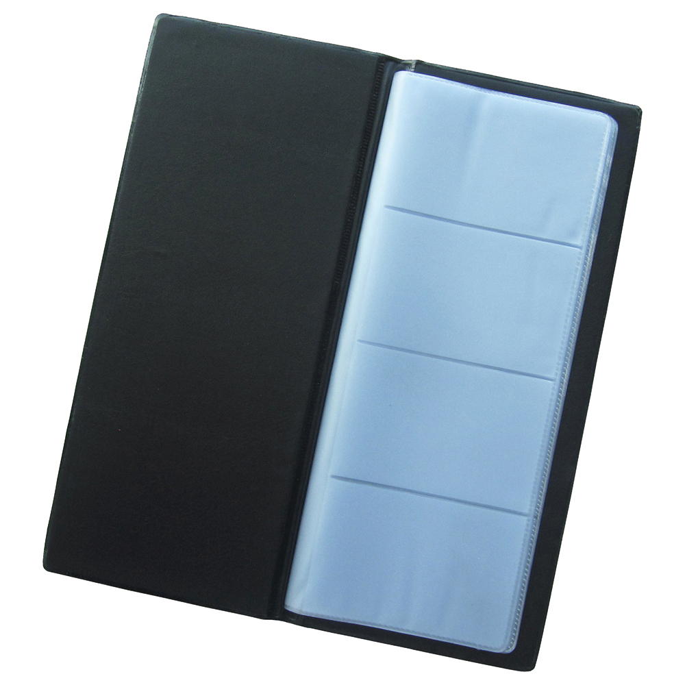 Business Office Classic Business Card Book PVC 64 Pockets for 128 Cards 278x120mm Black