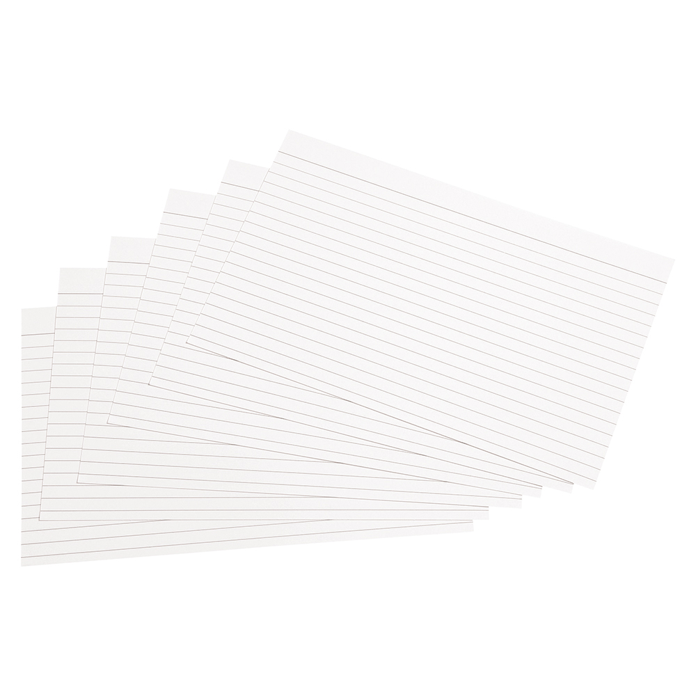 Business Record Cards Ruled Both Sides 203 x 127mm White (Pack of 100)
