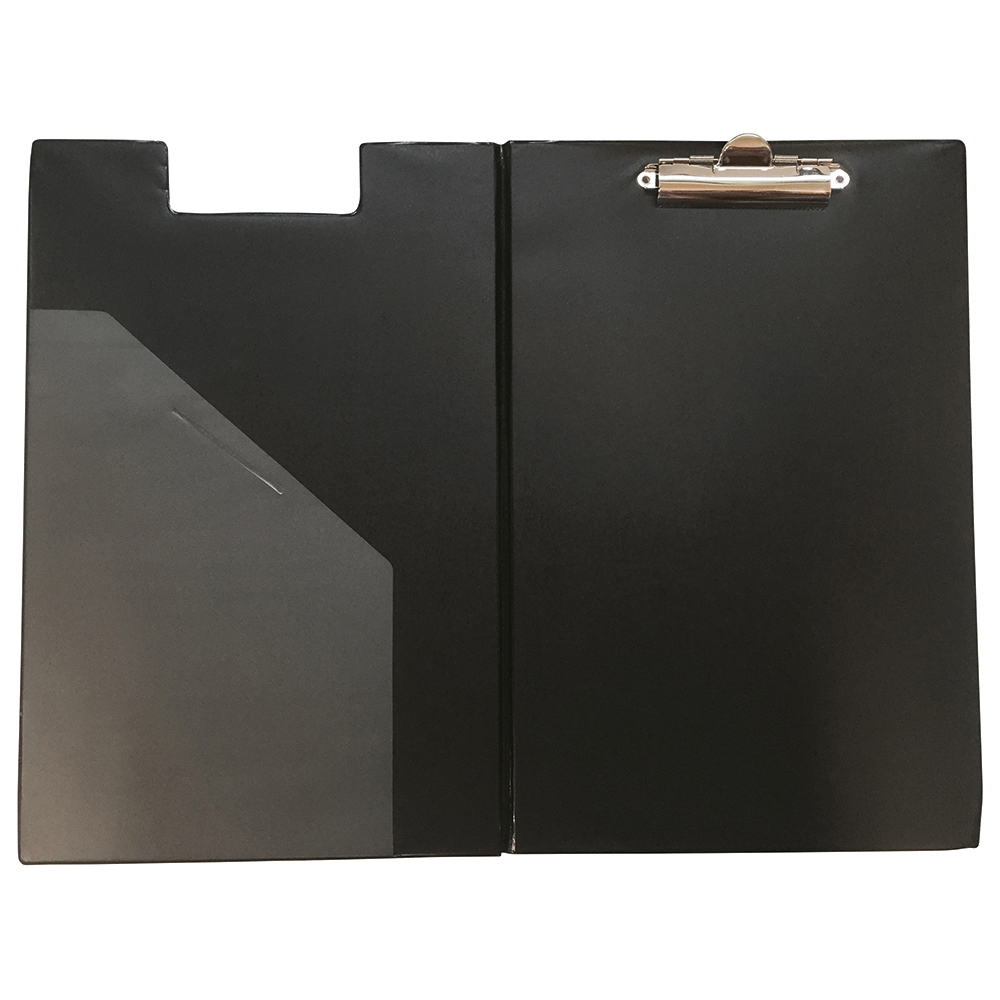 Business Executive Fold Over Clipboard PVC Finish with Pocket Foolscap Black (Pack of 1)