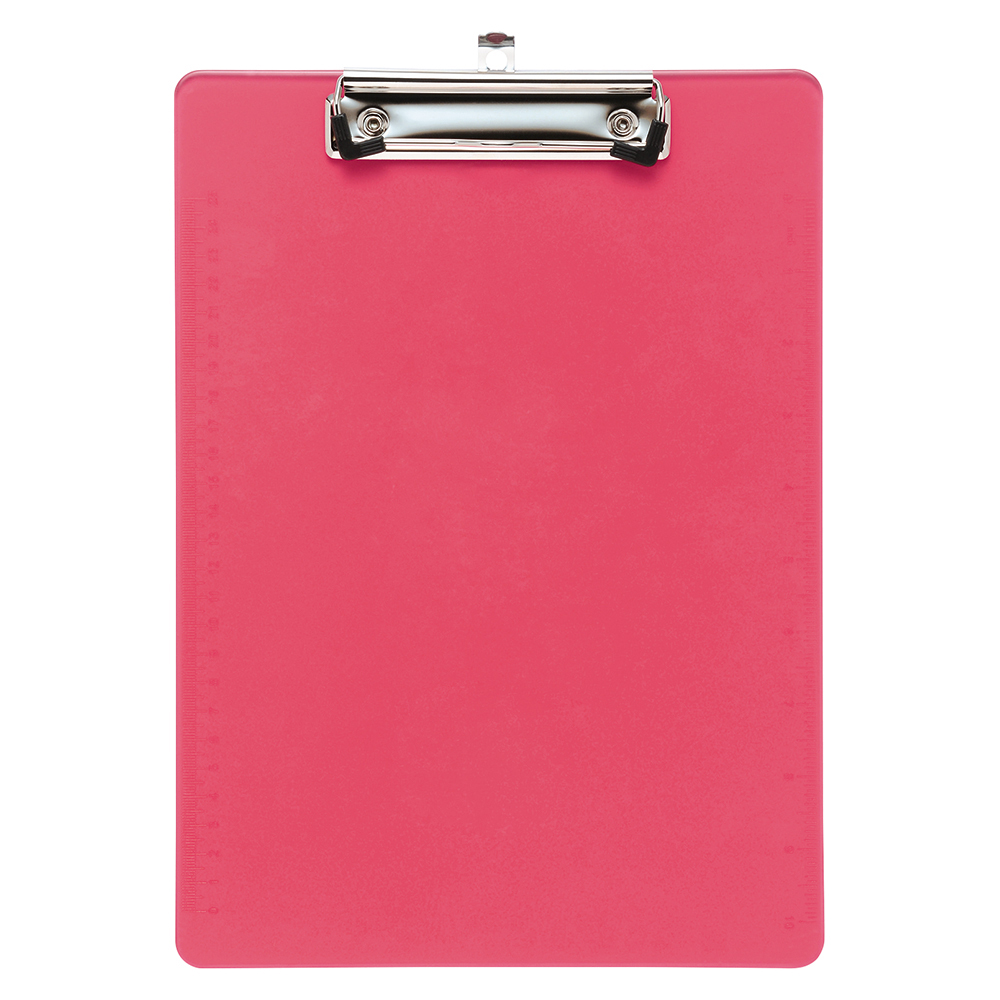 Business Solid Plastic Clipboard Durable with Rounded Corners A4 Pink (Pack of 1)