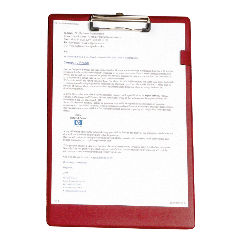 Business Standard Clipboard PVC Cover Foolscap Red (Pack of 1)