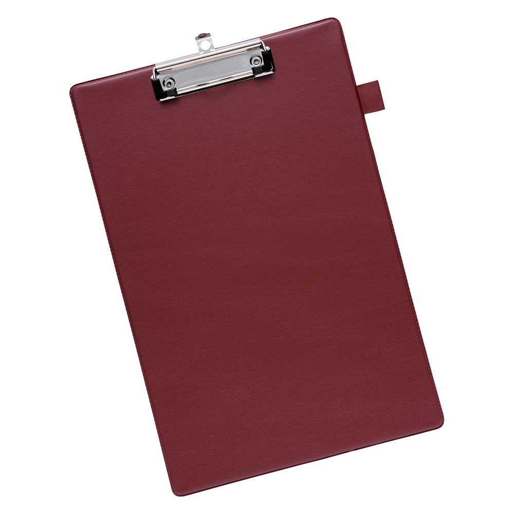 Business Office Standard Clipboard with PVC Cover Foolscap Dark Red