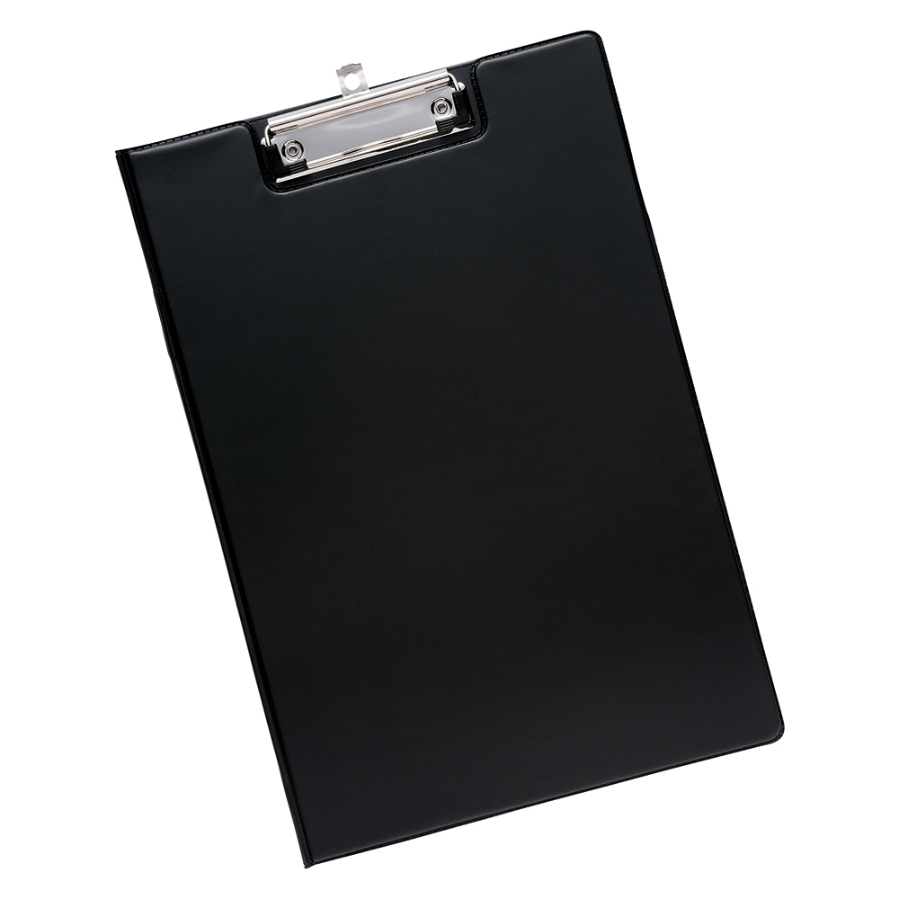 Business Office Fold-over Clipboard with Front Pocket Foolscap Black