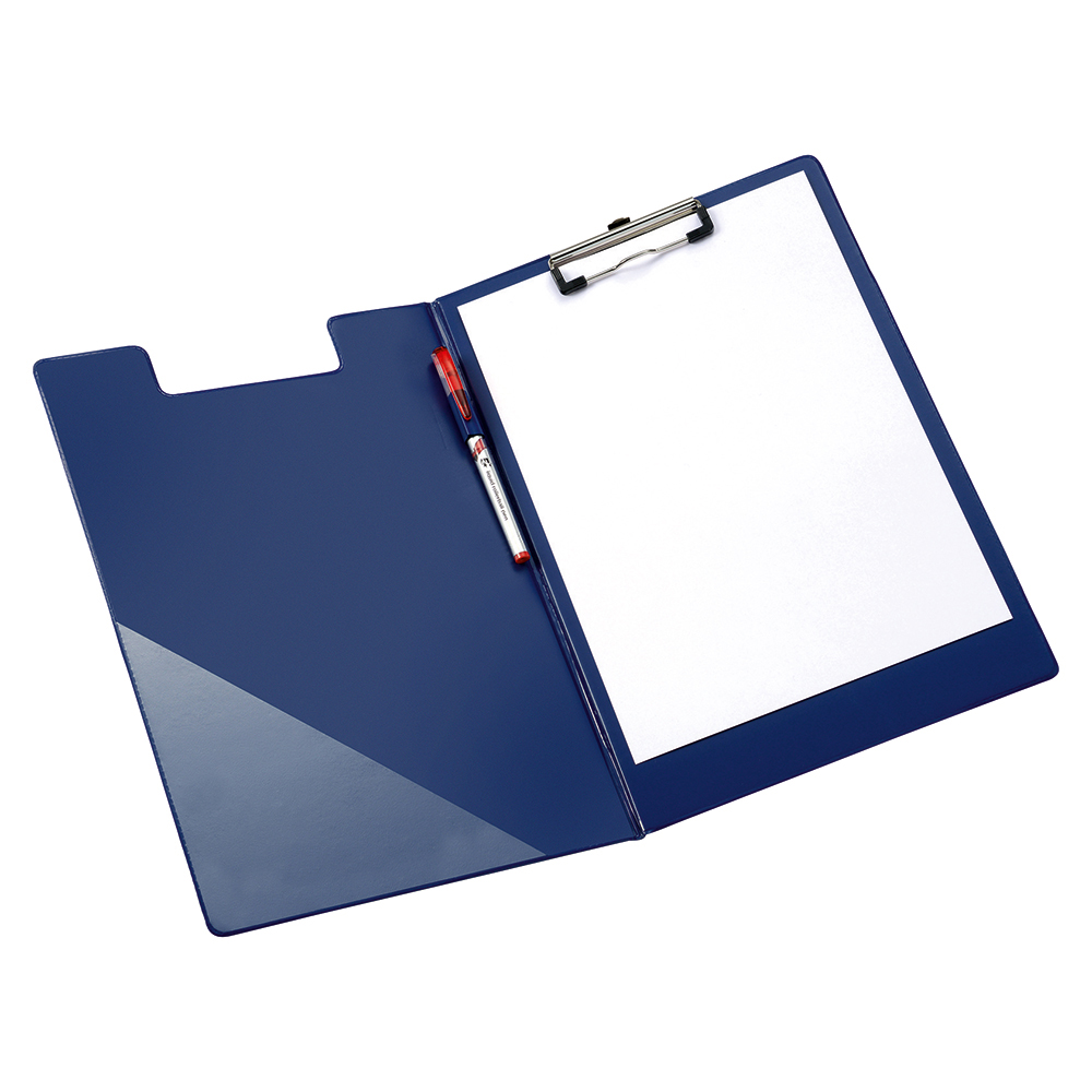 Business Office Fold-over Clipboard with Front Pocket Foolscap Blue