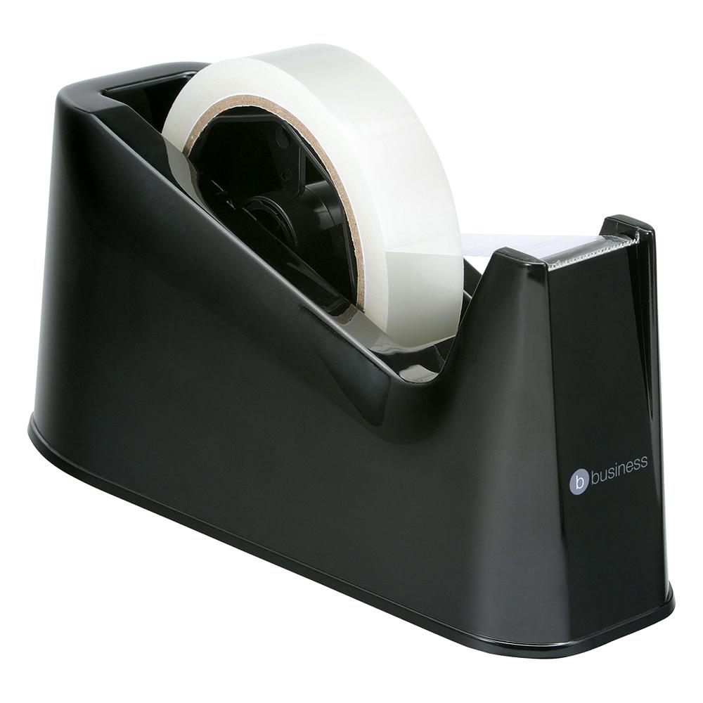 Business Office Tape Dispenser Desktop Weighted Non-slip Roll Capacity 25mm Width 66m Length Black