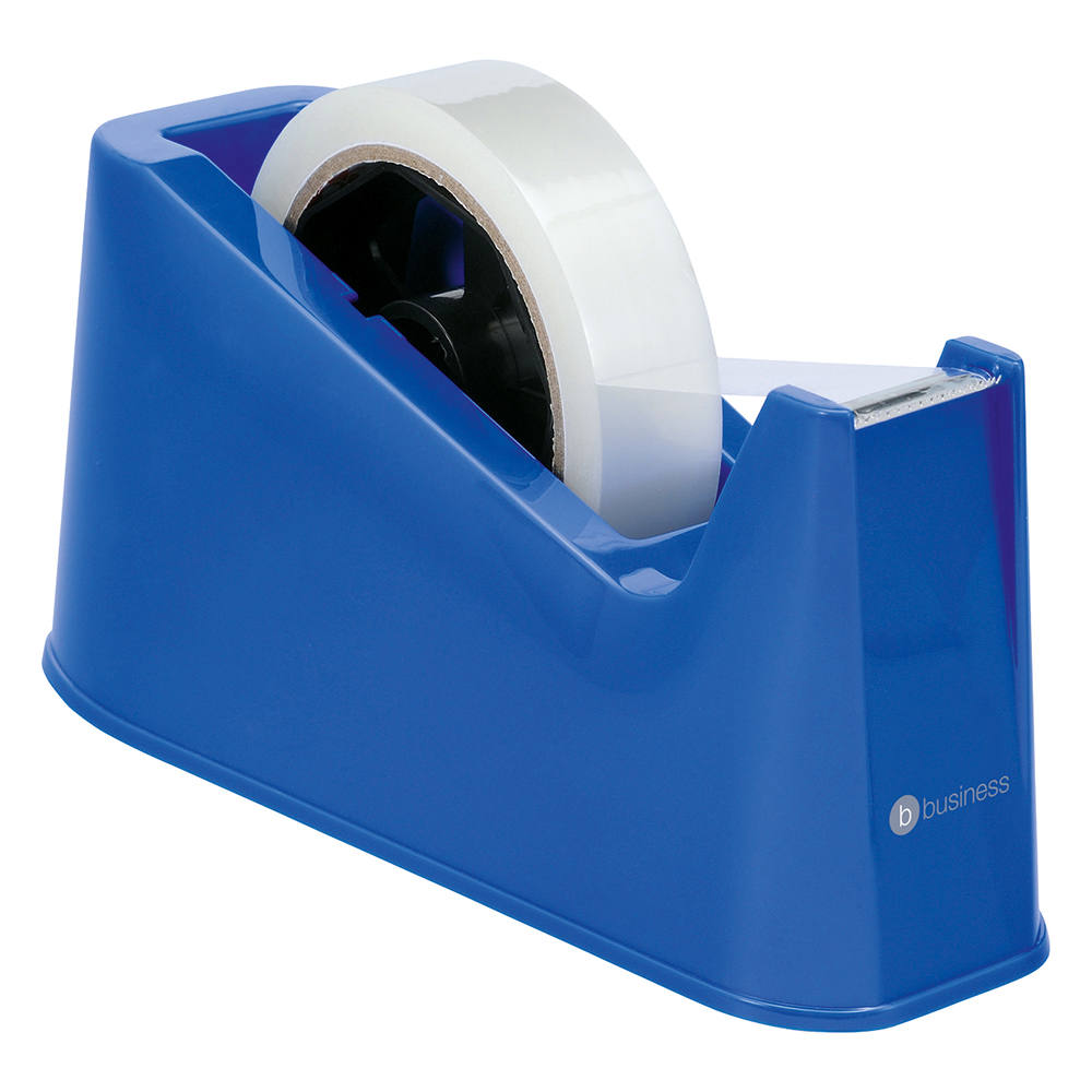 Business Office Tape Dispenser Desktop Weighted Non-slip Roll Capacity 25mm Width 66m Length Blue