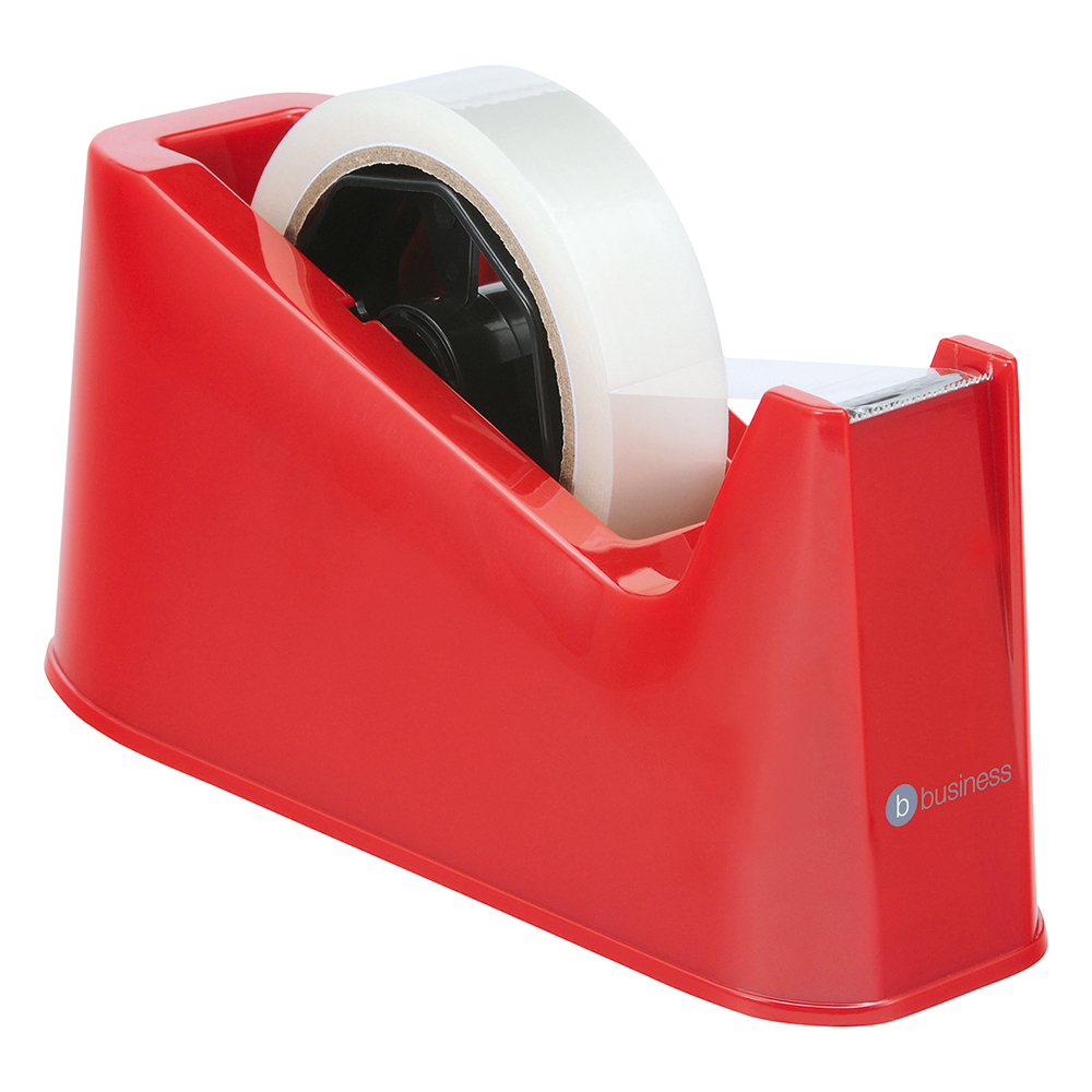 Business Office Tape Dispenser Desktop Weighted Non-slip Roll Capacity 25mm Width 66m Length Red