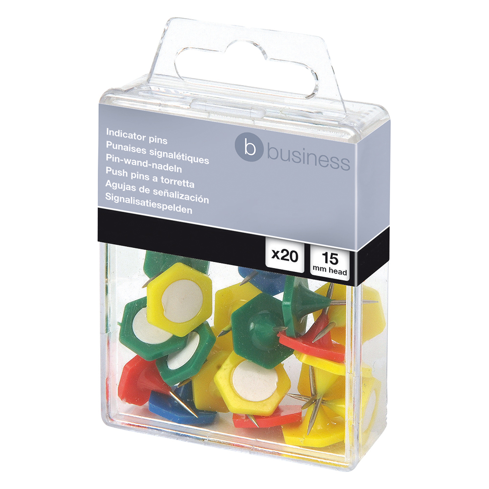 Business Indicator Pins 15mm Assorted (Pack of 20)