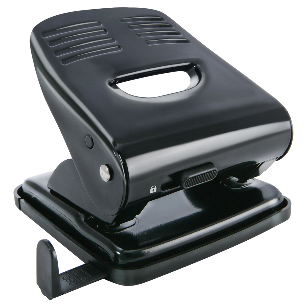 Business Hole Punch 2 Hole Metal/Plastic Capacity 30 Sheets Black (Pack of 1)