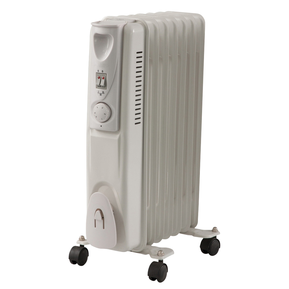 Business Oil Filled Radiator with Thermostat 1500W White (Pack of 1)