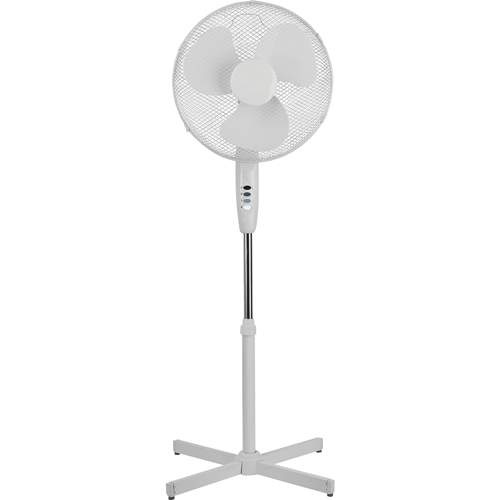 Business Facilities Pedestal Fan 16 Inch Floor-standing w/Tilt & Lock 3-Speed H1180-1400mm Dia.406mm White