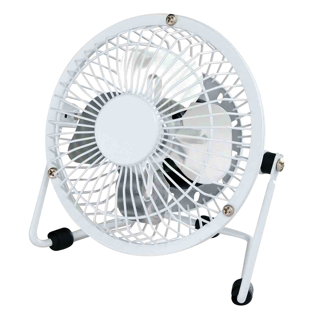 Business Facilities Desk Fan 4 Inch with Tilt USB 2.0 Interface 180deg Adjustable H145mm w/Cable 1m White