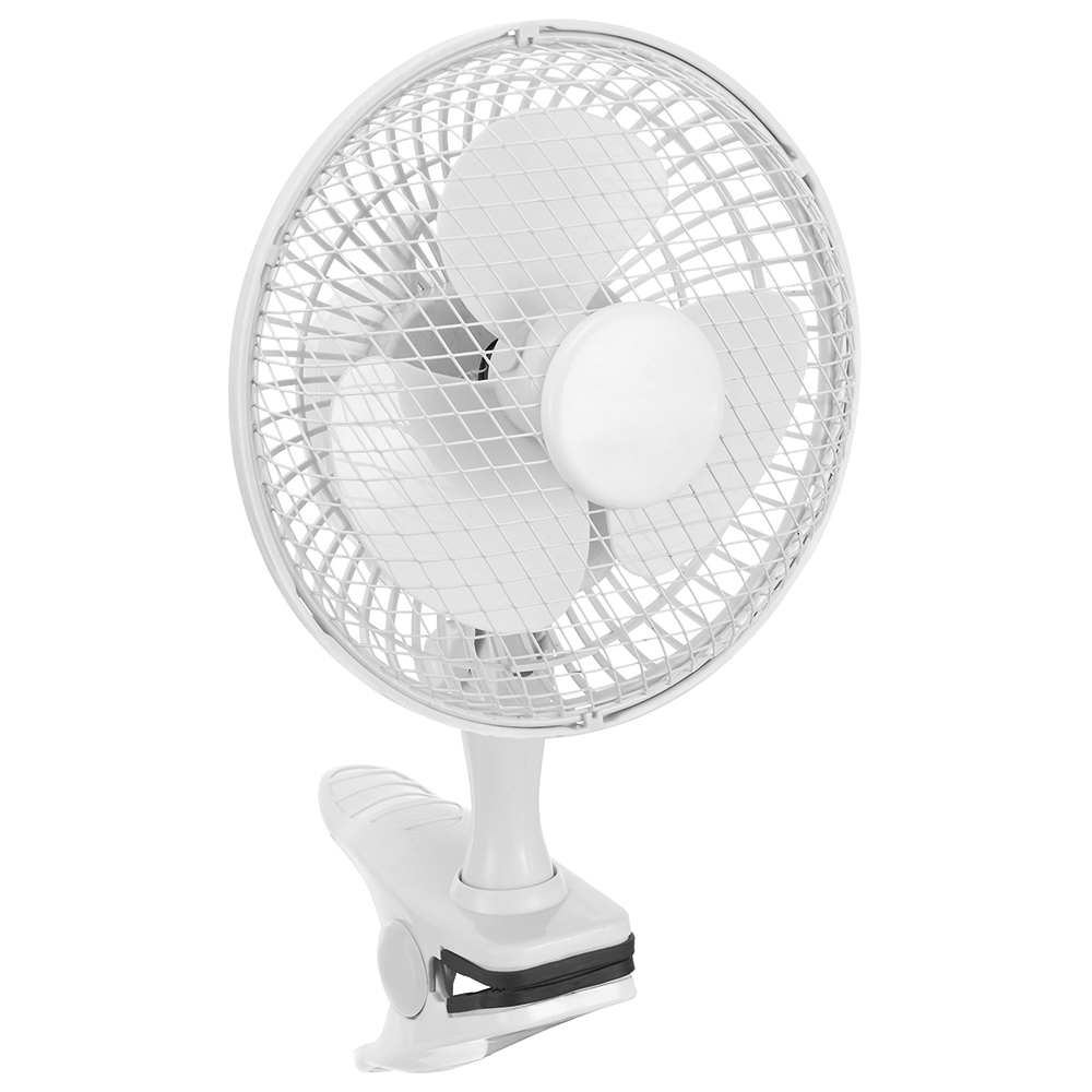Business Facilities Clip-On Fan 6 Inch with Tilt for Desk or Shelf 2-Speed 1.25-1.3m Cable Dia.152mm White