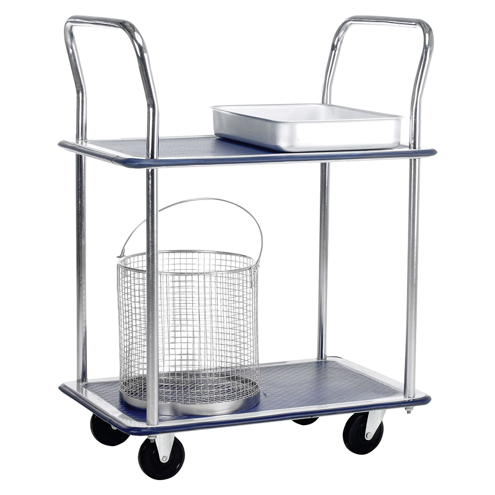 Business Lightweight Trolley 2 Shelf Steel Frame Capacity 120kg Blue (Pack of 1)