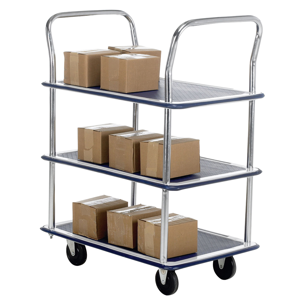Business Lightweight Trolley 3 Shelf Steel Frame Capacity 120kg Blue (Pack of 1)
