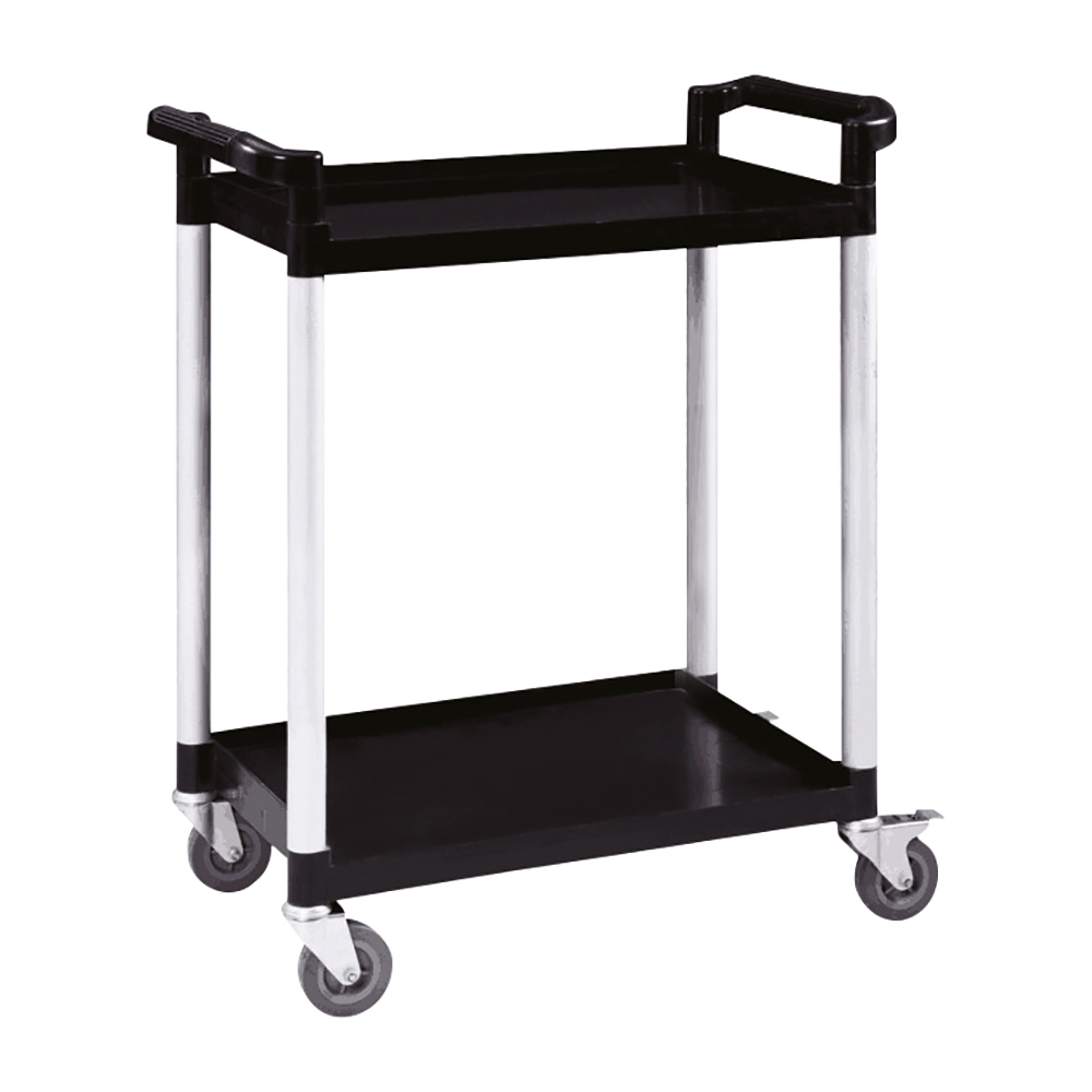 Business Utility Tray Trolley 2 Shelf Capacity 100kg Black (Pack of 1)