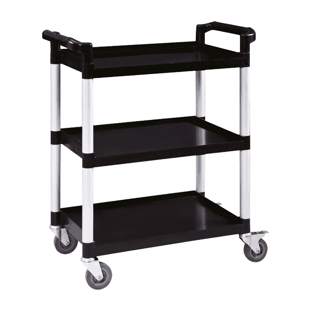 Business Utility Tray Trolley 3 Shelf Capacity 150kg Black (Pack of 1)