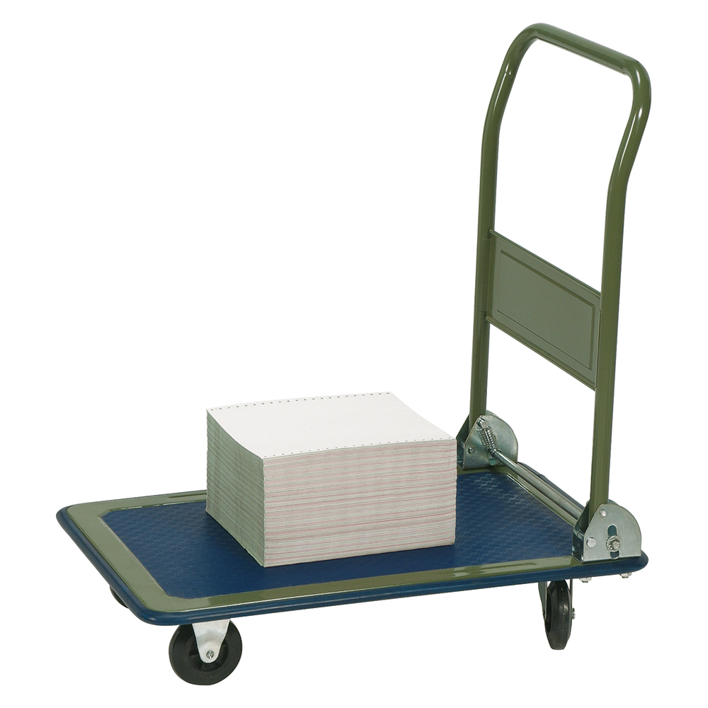 Business Facilities Platform Truck Standard-duty Capacity 150kg Baseboard W725xD470mm Blue and Grey