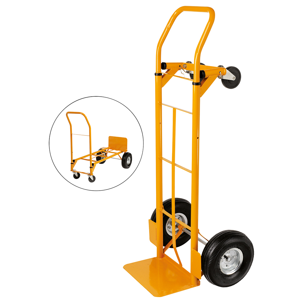 Business Universal Hand Trolley and Platform Truck 2 Position Capacity 250kg Yellow (Pack of 1)