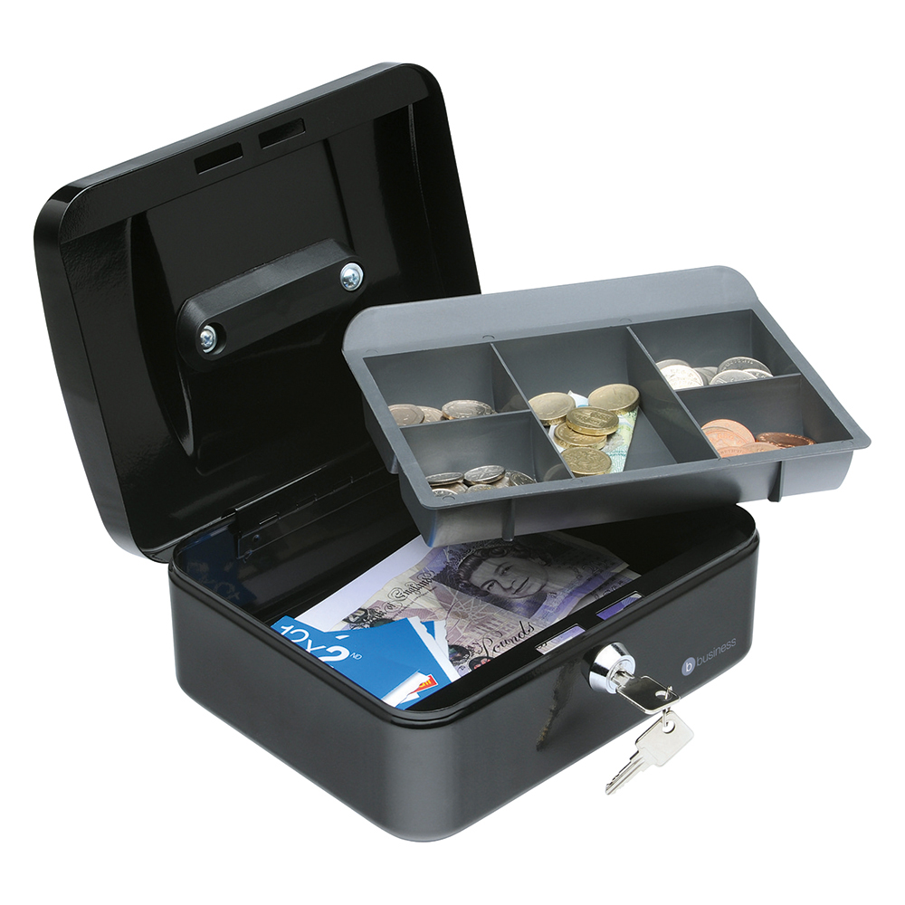 Business Cash Box Steel Spring Lock 5 Part Compartment Tray 8in Black (Pack of 1)