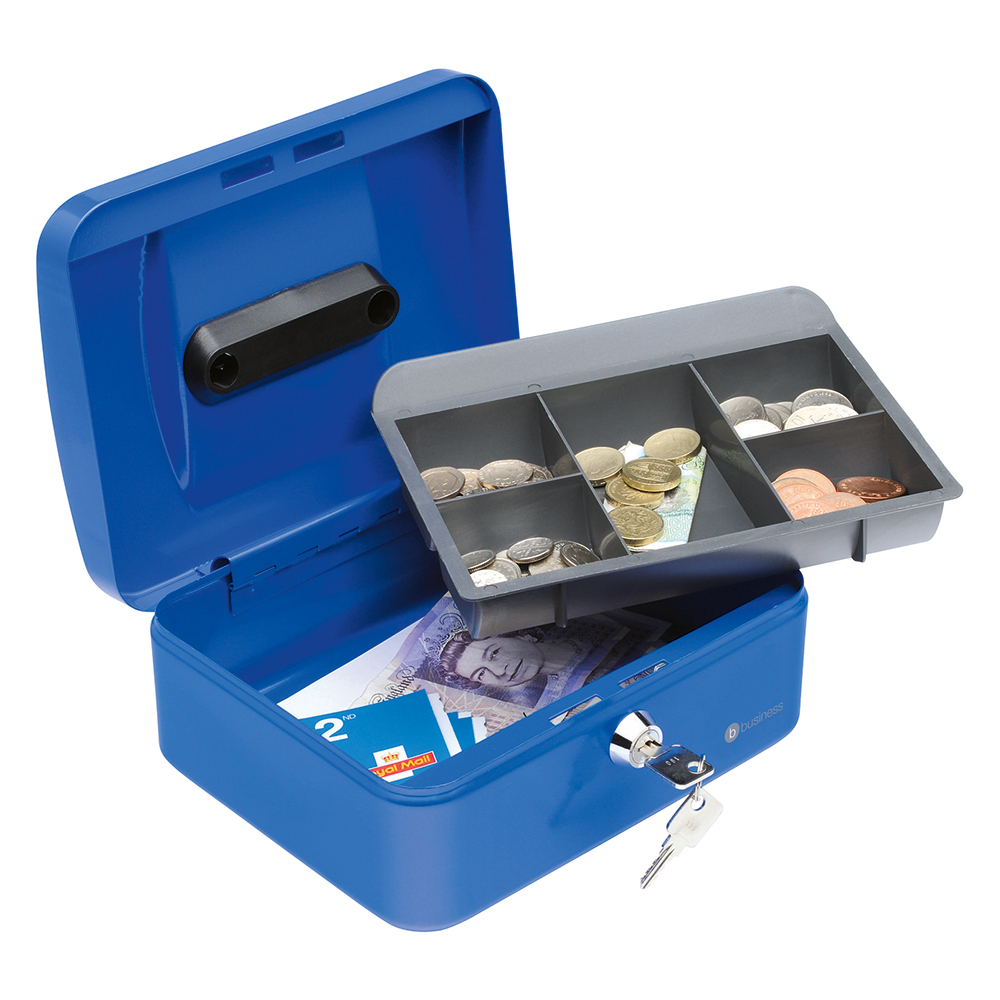 Business Cash Box Steel Spring Lock 5 Part Compartment Tray 8in Blue (Pack of 1)