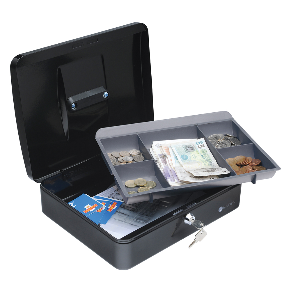 Business Facilities Cash Box with 5-compartment Tray Steel Spring Lock 12 Inch W300xD240xH70mm Black