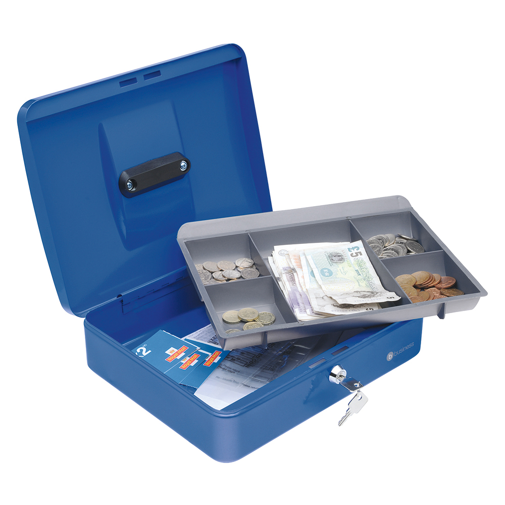 Business Cash Box Steel Spring Lock 5 Part Compartment Tray 12in Blue (Pack of 1)