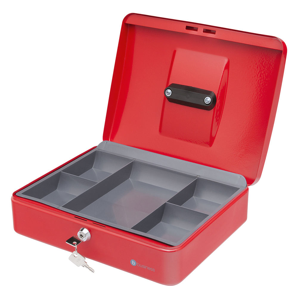 Business Cash Box Steel Spring Lock 5 Part Compartment Tray 12in Red (Pack of 1)