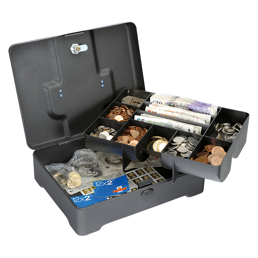 Business Facilities High Capacity Cash Box 8 Part Coin Tray 1 Part Note Section W300xD230xH90mm Titanium