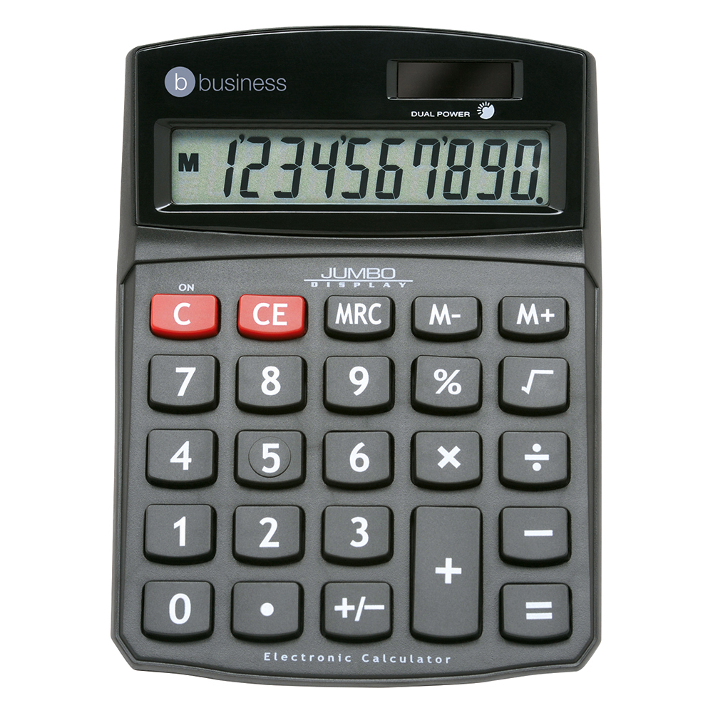 Business Office Desktop Calculator 10 Digit Display 3 Key Memory Battery/Solar Power 94x32x124mm Black