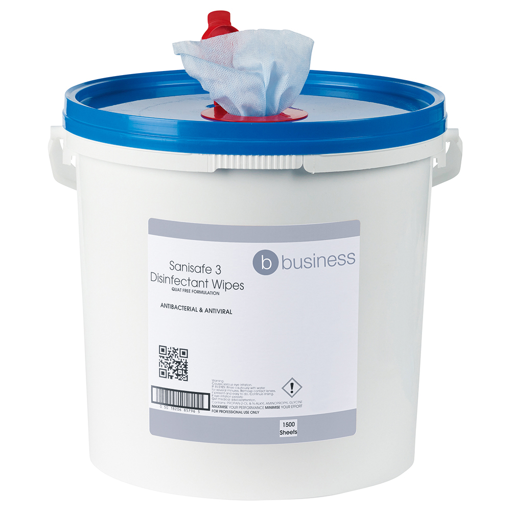 Business Facilities Disinfectant Wipes Anti-bacterial PHMB-free BPR Low-residue 20x23cm Bucket 500 Sheets