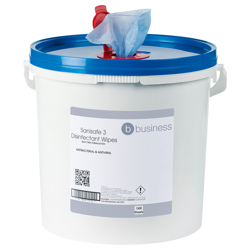 Business Facilities Disinfectant Wipes Anti-bacterial PHMB-free BPR Low-residue 19x20cm Tub 1500 Sheets