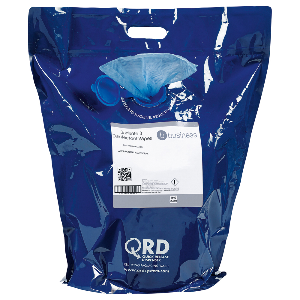 Business Facilities Disinfectant Wipes Anti-bacterial PHMB-free BPR Low-residue 19x20cm Bag 1500 Sheets
