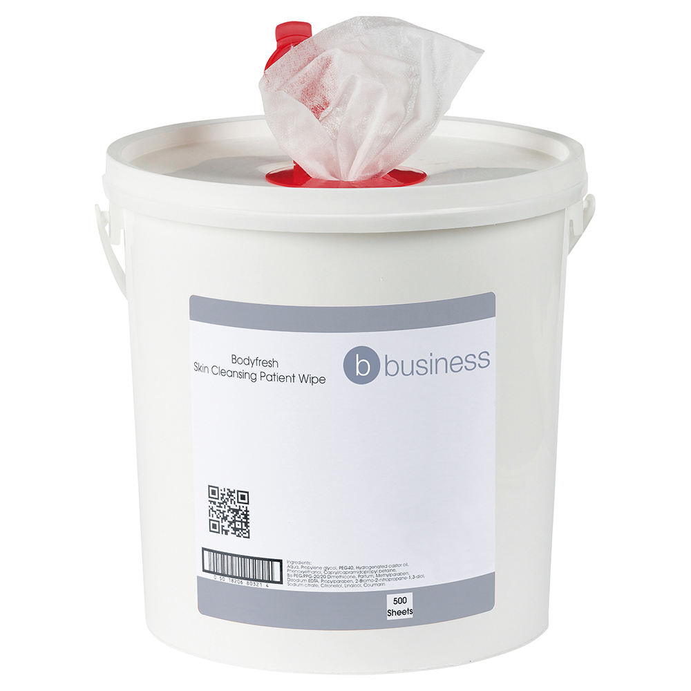 Business Bodyfresh Skin Cleansing Patient Wipe 200x200mm (Bucket of 500 sheets)