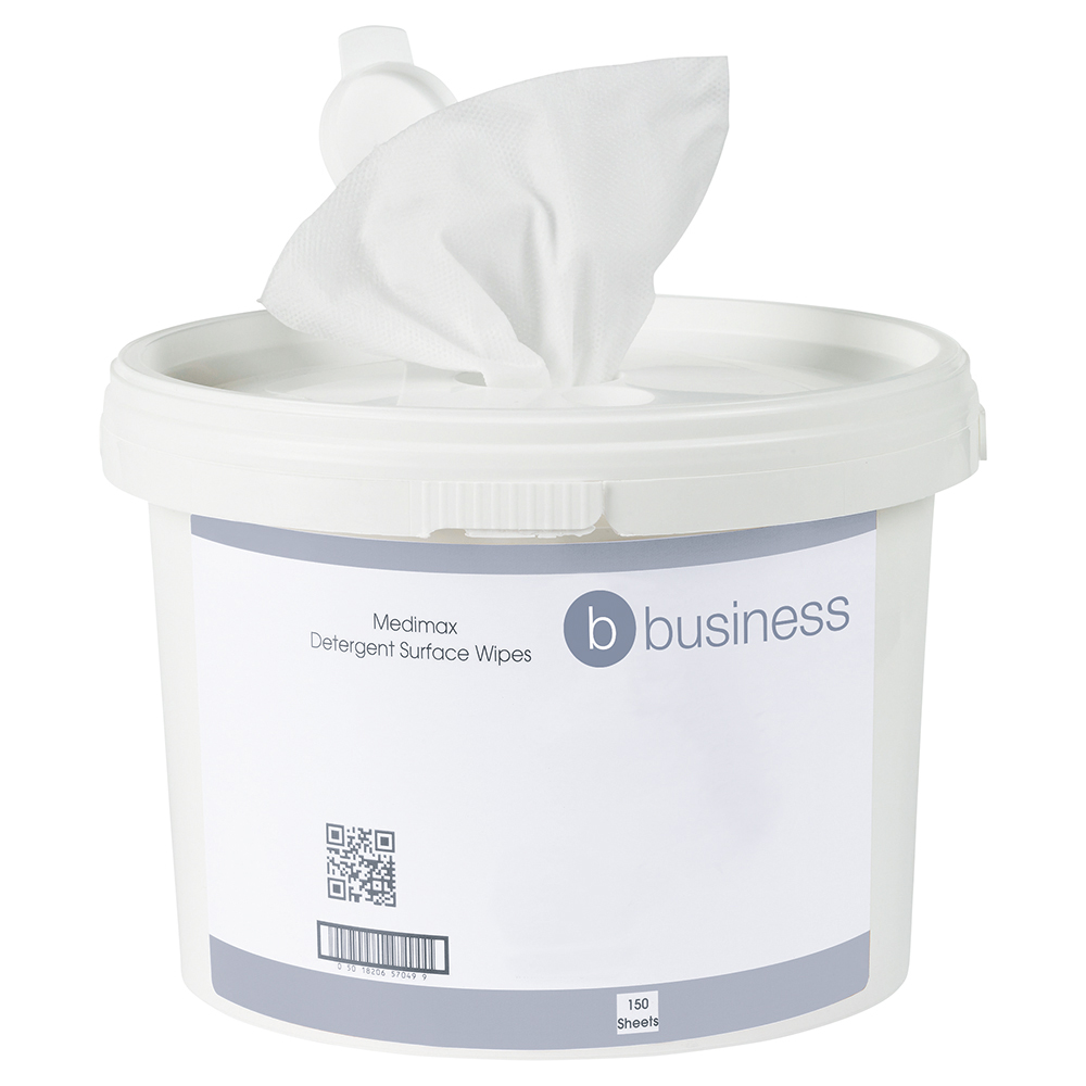 Business Medimax 70% IPA Surface Wipes 280x280mm (Bucket of 150 sheets)