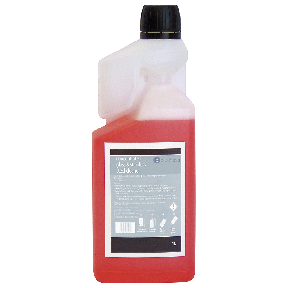 Business Facilities Concentrated Glass & Stainless Steel Cleaner 1 Litre