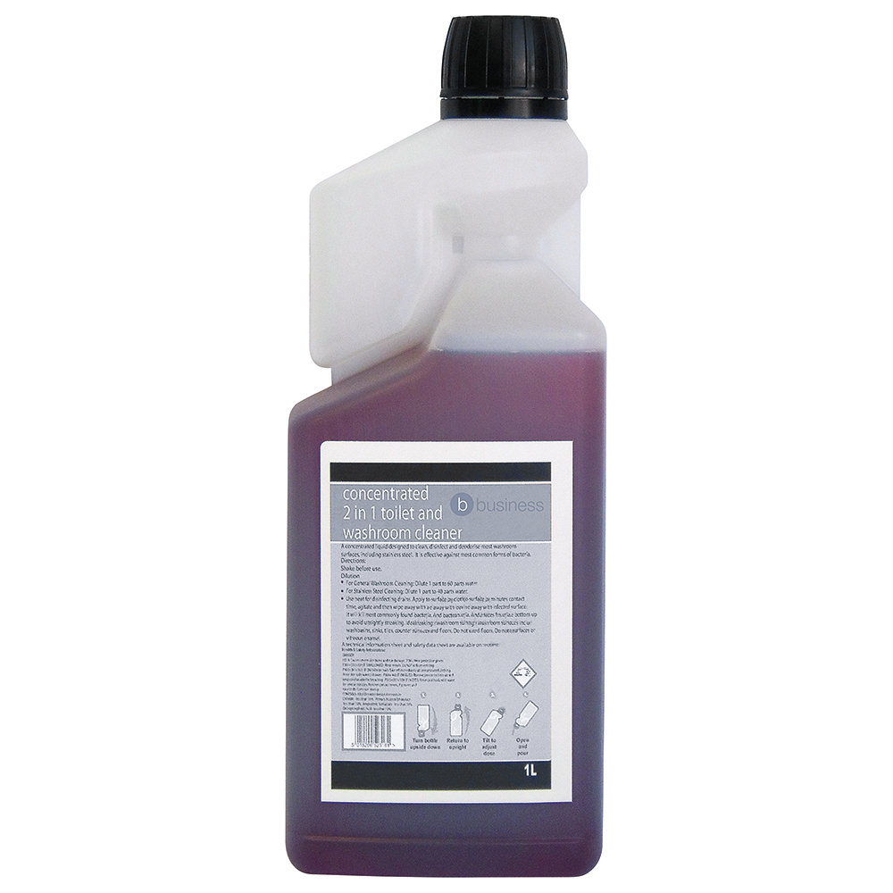 Business Concentrated 2 In 1 Toilet & Washroom Cleaner 1 Litre (Pack of 1)