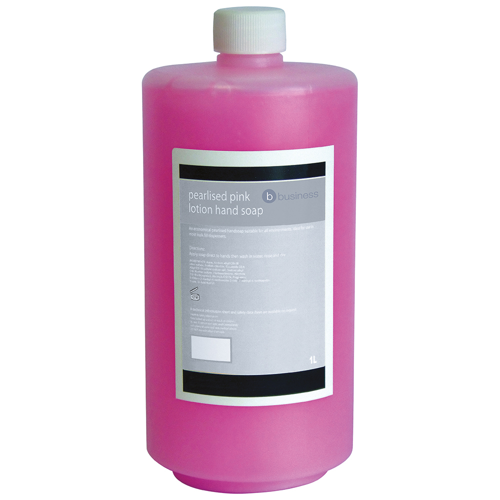 Business Lotion Hand Soap Pearlised Pink 1 litre (Pack of 1)