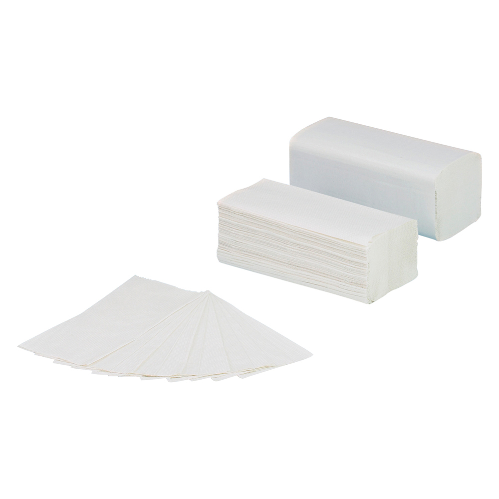 business Facilities Hand Towel V-Fold Two-ply Recycled Size 225x210mm 160 Towels Per Sleeve White Pack 20