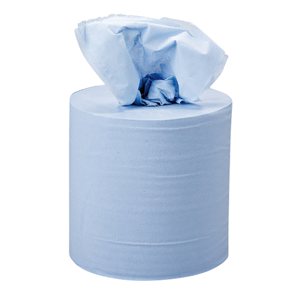 business Facilities Centrefeed Tissue Refill for Jumbo Dispenser Blue Two-ply L150mxW180mm Pack 6