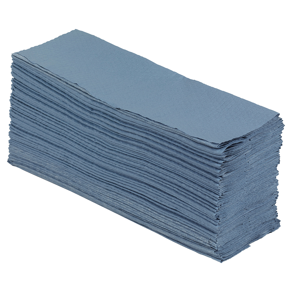 Business Super Absorbent Low Lint Multipurpose Wiping Cloths in Dispenser Box 110 gsm Blue (Box of 160)