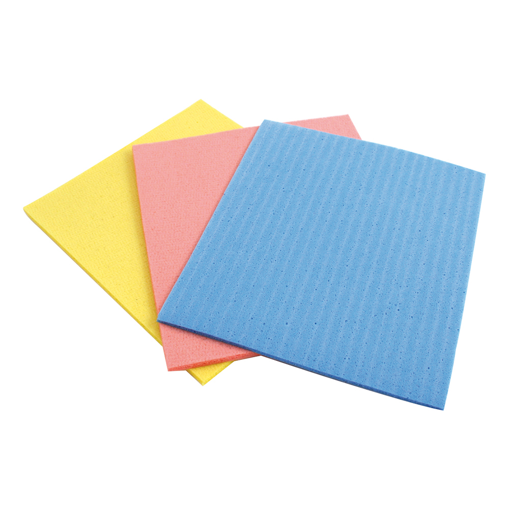 Business Facilities Sponge Cloths Cellulose W180xL180mm Assorted Colours Pack 18